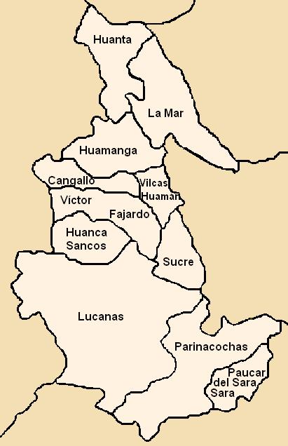 Mapa político de Ayacucho